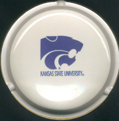 Ashtray with Gold Band Kansas State Wildcats