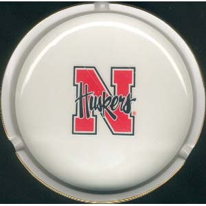 Ashtray with Gold Band - Nebraska Cornhuskers