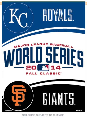 World Series Dueling KC Royals vs SF Giants Vertical Flag