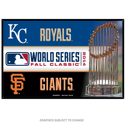 "World Series Dueling KC Royals vs SF Giants Wood Sign 11"" x 17"""